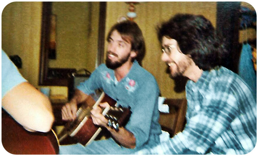 Uncle Dave with Takamine and Wayne Scarborough with Happy Face.  Fredericksburg, Virginia. 1977