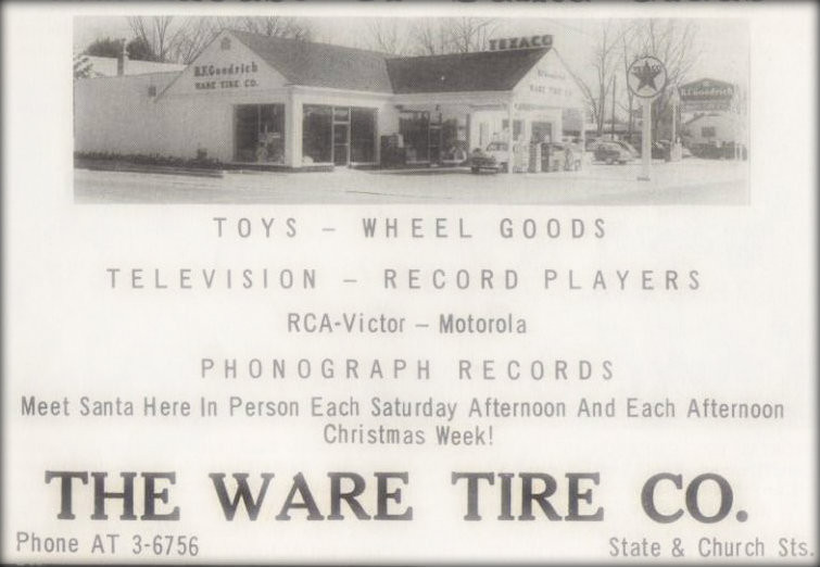 Ware Tire Co. on the corner of State and Church, Waycross, Georgia.