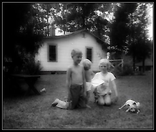 Uncle Dave, Sister Deb, Cousin Wanda Cheshire, and Sport. Doghill, 1962