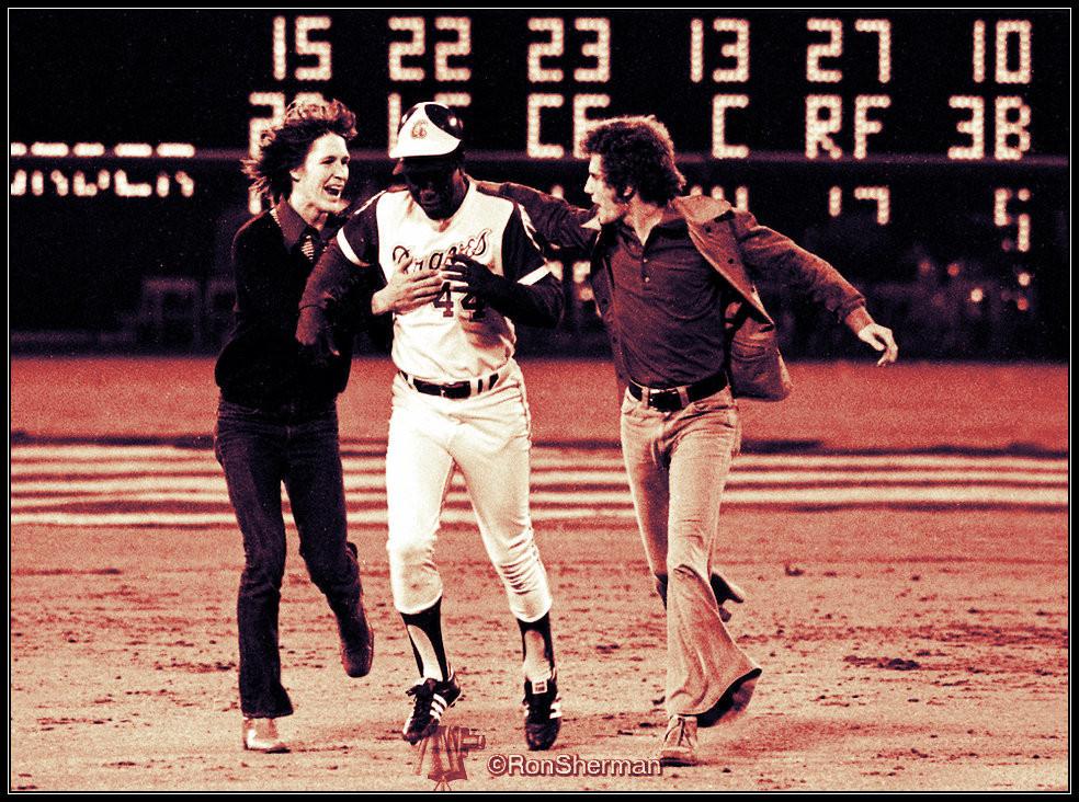 Cliff Courtenay, Aaron, Britt Gaston.  April 8, 1974.  Photo by Ron Sherman