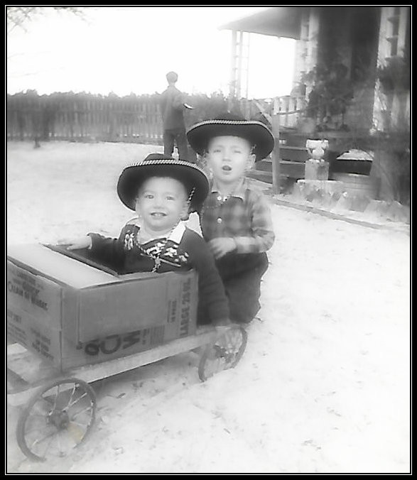 Uncle Dave and Brother Gary, Carter farmhouse, 1954.