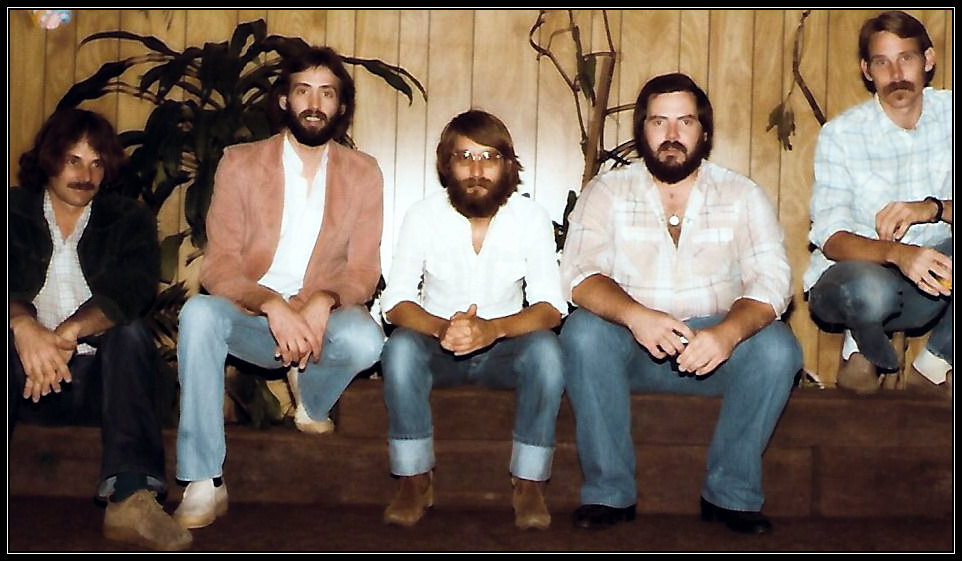 L-R: Dave Mignano, Uncle Dave, Steve, Ed Thompson, Scott Sheevy.  Tallahassee Opry House, 1980