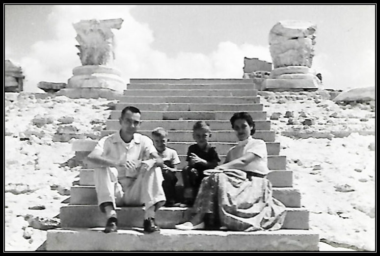 Daddy, Uncle Dave, Gary, and Mama. Roman ruins at Leptis Magna outside Tripoli, 1958.