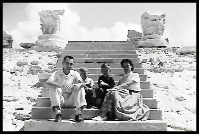 Daddy, Dave, Gary, Mama: Roman Ruins at Leptis Magna, 1958