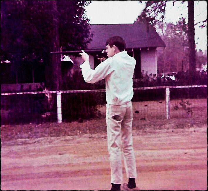 """Uncle Dave in front of Greg """"Slick"""" Griffin's house on Doghill, 1967"""