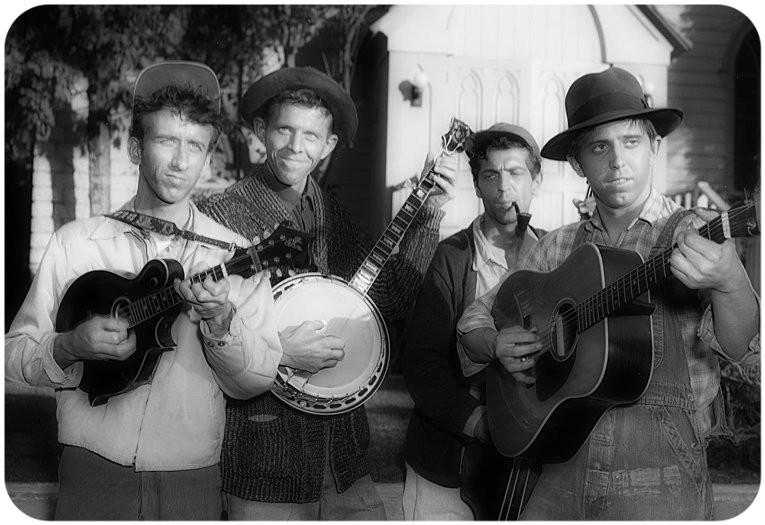 The Dillards as The Darlings, 1963. L-R: Dean Webb, Doug Dillard, Mitch Jayne, Rodney Dillard