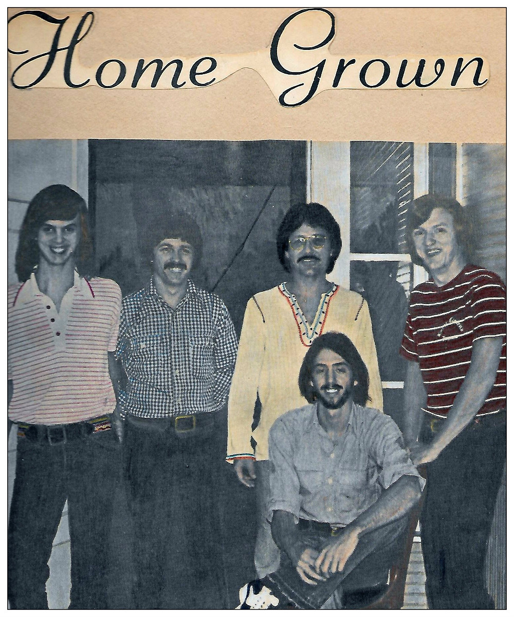 Homegrown, 1975.  L-R: Ricky Alderman, Bruce Wood, T. Wayne Scarborough, Joe Shear.  Seated: Uncle Dave