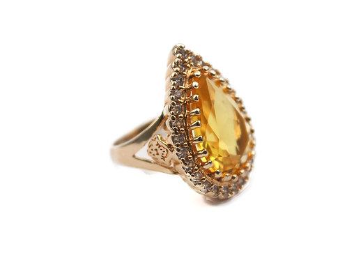 Anel Pedra Com Zirconia Em Banho De Ouro