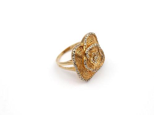 Anel Flor com Zircônia Banhado em Ouro