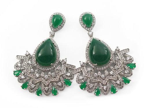 Brinco De Prata Com Pedra Agata Verde E Zirconia