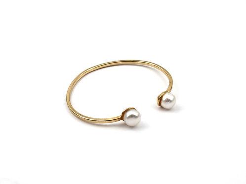 Pulseira Bracelete Com Perolas Naturais Em Banho De Ouro