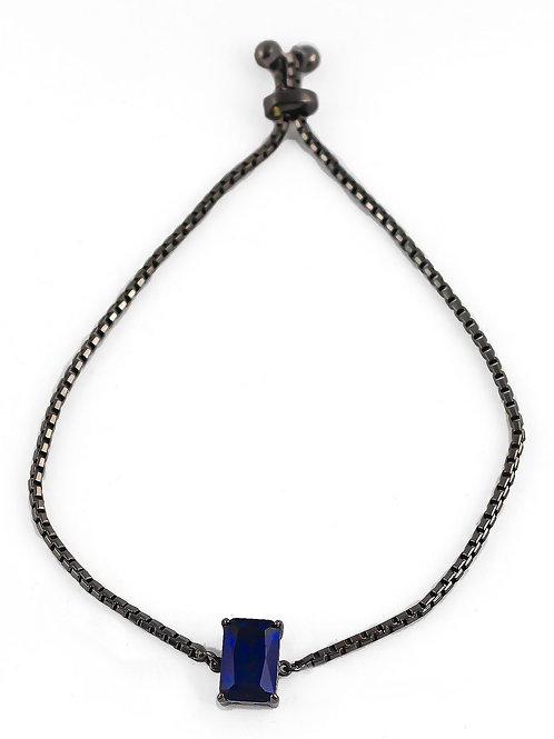 Pulseira Gravatinha Zircônia Azul E Em Banho De Ródio Negro.