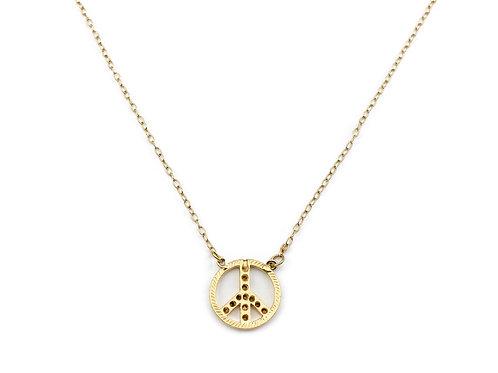 Colar Simbolo Da Paz Em Banho De Ouro
