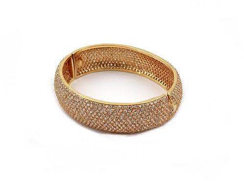 Pulseira Bracelete Com Zircônia Em Banho De Ouro
