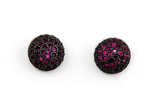 Brinco Pedra Zircônia Rosa E Banho Em Ródio Negro