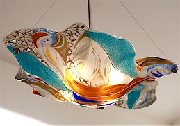 Fused Glass Chandelier, Lighting, Pendant chandelier, dining room lighting
