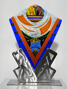 Fused glass sculptures, glass art, table top sculptures, glass and steel,