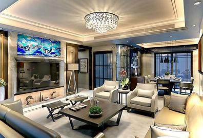 Glass wall art, residential art, living room
