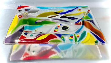 Fused Glass Platter, Glass Dish