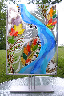 Fused glass sculptures, glass art, table top sculptures, nature theme, glass and steel,