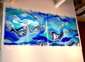 University art, fused glass wall mural, nature-theme, water art, glass sculpture