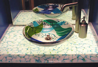 Fused Glass Sink and Countertop, Glass Vanity
