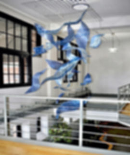 Aerial sculptures, commercial building art, lobby art, metal sculpture