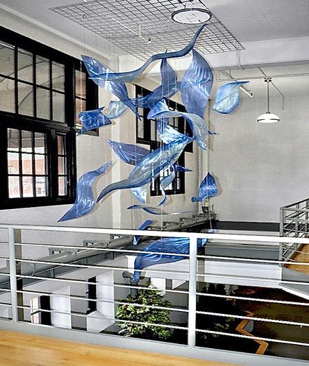 Aerial sculptures, commercial building art, lobby art, metal sculpture