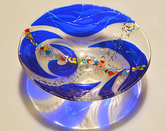 Fused glass bowl, platter, glass dish