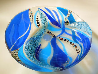 Fused glass bowl, platter, glass dish, water themed glass