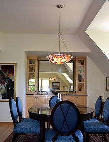 Fused Glass Chandelier, Dining room lighting, Pendant chandelier