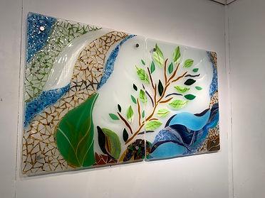 Fused glass wall art, beautiful art, mural, interior design, design.