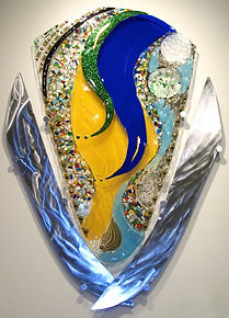 glass sculpture, glass and metal art, fused glass mural,