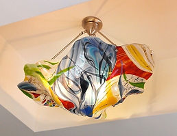 Fused Glass Chandelier, Lighting, Pendant chandelier, office lighting