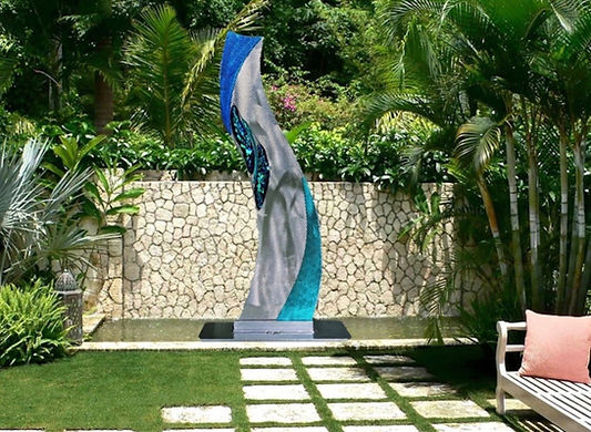 landscape sculpture, glass and meatl sculpture, environmental art, outdoor art
