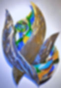 glass sculpture, glass and metal art, fused glass mural, healing art