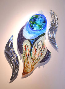 glass sculpture, glass and metal art, fused glass mural, 4' tall, available
