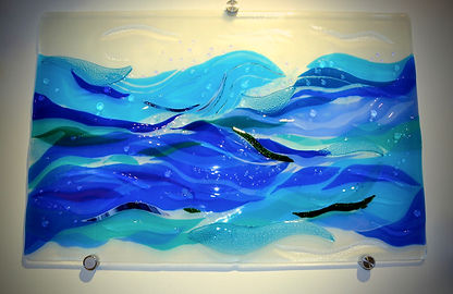 Brilliant Waters Fused Glass Wall Art