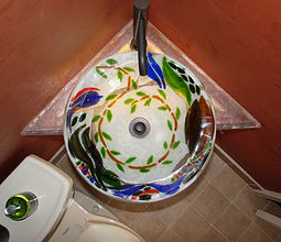 Fused Glass Sink, Guest Bathroom Sink