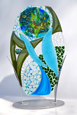 Fused glass sculpture, table top art, glass and steel, nature themed art
