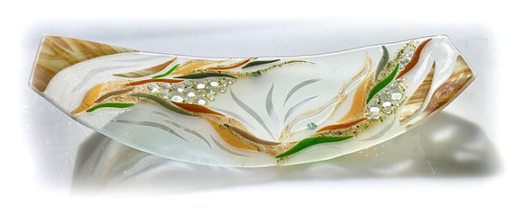 Amber Fused Glass Platter, Glass Sculpture