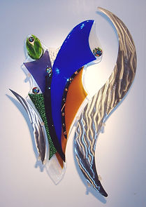 glass sculpture, glass and metal art, educational art, fused glass mural, University art
