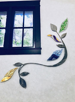 Metal and glass art, lobby , entry, wall mural, leaves, vine