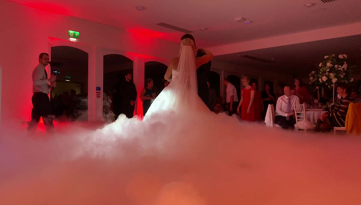 Wedding DJ Dry Ice (Dancing on Clouds) for the first dance at Arley House & Gardens.