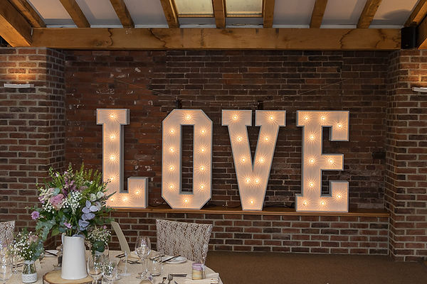 Illuminated LOVE Letter Hire, Worcesters