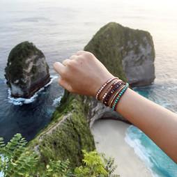 Bracelet Horizon bijou Wrap Vintage en turquoise et lapis lazui