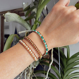 Bracelet wrap en pierres de jaspe et cuir