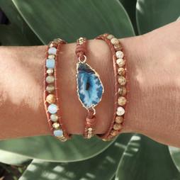 Bracelets Wrap Vintage Cali en pierres naturelles