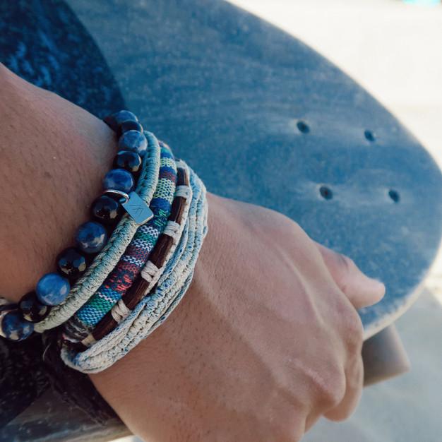 Bracelets Wrap Vintage Ocean homme en pierres naturelles