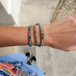 Bracelets Wrap Vintage Forest en pierres naturelles